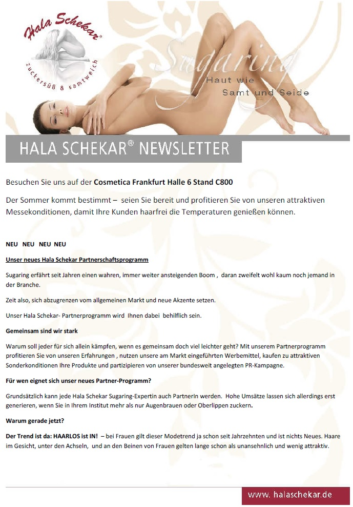 Cosmetica Frankfurt, Messe Frankfurt, Beauty Messe, Kosmetik Messe, Frankfurt, Hala Schekar, Sugaring, Haarentfernung, Zuckerpaste